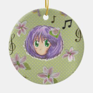 Ornamento de Yuriko de la flor del lirio de Kawaii Adorno Redondo De Cerámica
