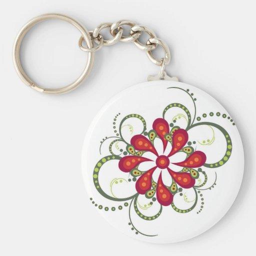 ornamento decorativo de la flor llavero redondo tipo pin