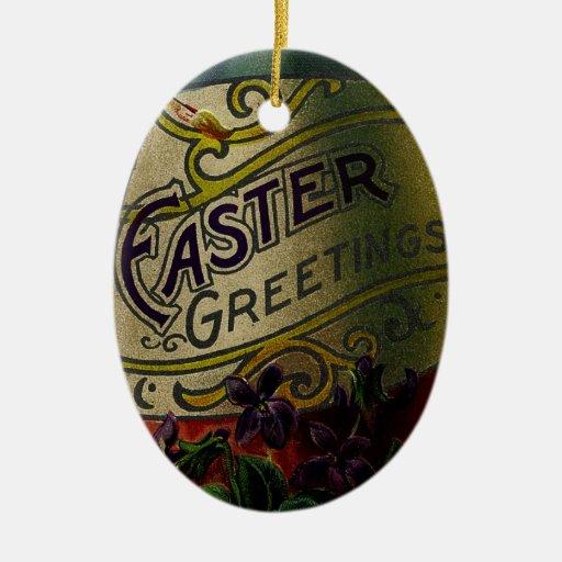 Ornamento decorativo del huevo de Pascua del vinta Ornamentos De Reyes
