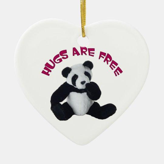 Ornamento del abrazo de la panda adorno navideño de cerámica en forma de corazón