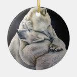 Ornamento del abrazo del oso polar ornamento para arbol de navidad