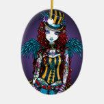 Ornamento del acto secundario del tatuaje del adorno navideño ovalado de cerámica