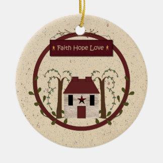 Ornamento del amor de la esperanza de la fe adorno navideño redondo de cerámica