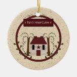 Ornamento del amor de la esperanza de la fe ornamento de navidad