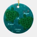 Ornamento del amor de la tortuga ornamentos de navidad