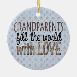 Ornamento del amor de los abuelos del navidad del adorno navideño redondo de cerámica