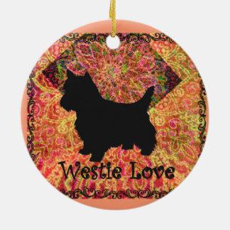 Ornamento del amor de Westie por el villancico Adorno Navideño Redondo De Cerámica