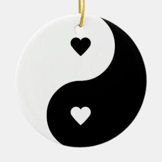 Ornamento del amor de Yin Yang Adorno Navideño Redondo De Cerámica