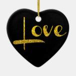 Ornamento del amor del corazón del brillo del oro adorno navideño de cerámica en forma de corazón