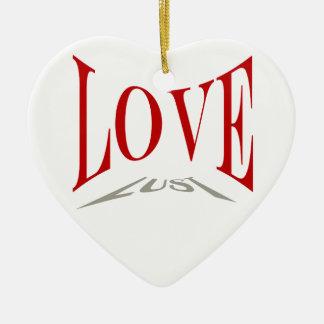 Ornamento del amor o de la lujuria adorno navideño de cerámica en forma de corazón