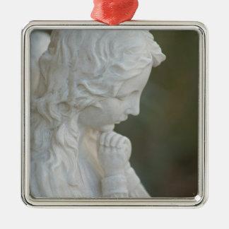 Ornamento del ángel adorno navideño cuadrado de metal