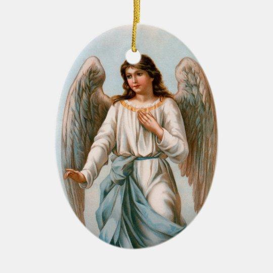 Ornamento del ángel adorno navideño ovalado de cerámica