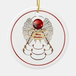 Ornamento del ángel de las Felices Navidad Adorno Navideño Redondo De Cerámica
