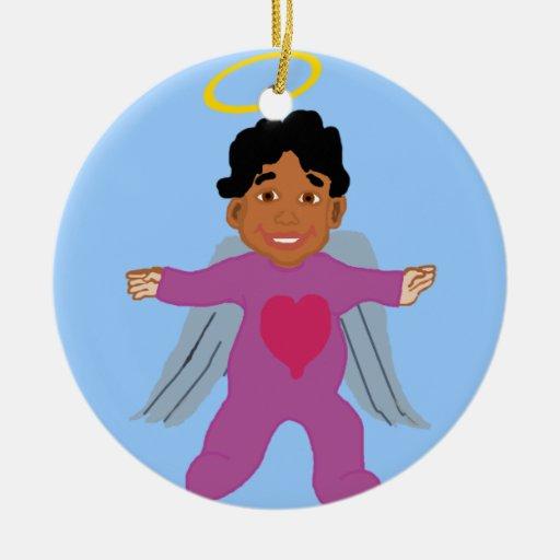 Ornamento del ángel del bebé adorno navideño redondo de cerámica