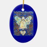 Ornamento del ángel del cáncer del azul y del oro ornamento de reyes magos