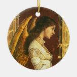 Ornamento del ángel del fresco adorno redondo de cerámica