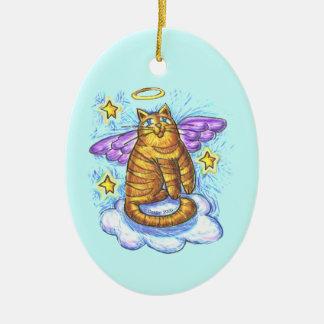 Ornamento del ángel del gato del gatito de Rambo Ornamentos De Reyes Magos