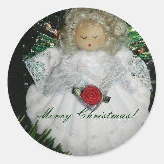 ¡Ornamento del ángel del navidad, Felices Navidad! Pegatina Redonda