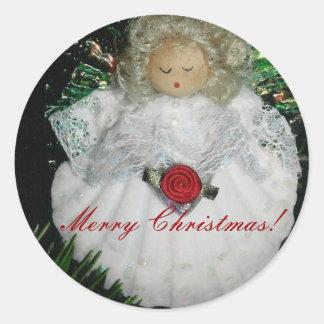 Ornamento del ángel del navidad, feliz Ch… - Pegatina Redonda