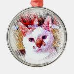 Ornamento del ÁNGEL del RETRATO del CAT Adorno Redondo Plateado