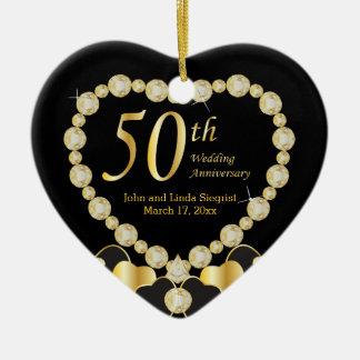 Ornamento del aniversario de boda cincuenta adorno navideño de cerámica en forma de corazón