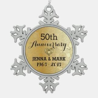 Ornamento del aniversario de boda del brillo 50.o adorno de peltre en forma de copo de nieve