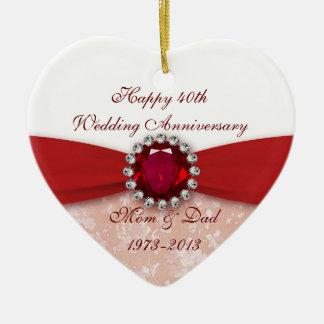 Ornamento del aniversario de boda del damasco 40.o adorno navideño de cerámica en forma de corazón