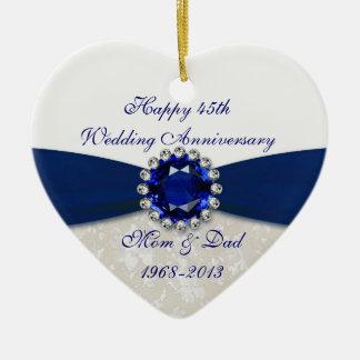 Ornamento del aniversario de boda del damasco 45.o adorno navideño de cerámica en forma de corazón