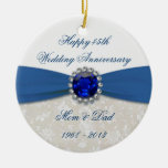 Ornamento del aniversario de boda del damasco 45.o adorno para reyes