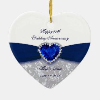 Ornamento del aniversario de boda del damasco 45.o adorno de cerámica en forma de corazón