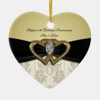 Ornamento del aniversario de boda del damasco 50.o adorno navideño de cerámica en forma de corazón