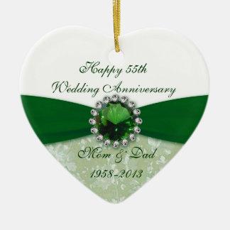 Ornamento del aniversario de boda del damasco 55.o adorno navideño de cerámica en forma de corazón