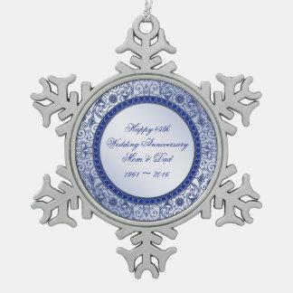 Ornamento del aniversario de boda del zafiro 45.o adorno de peltre en forma de copo de nieve