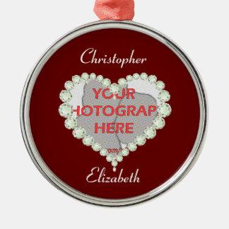 Ornamento del aniversario del diamante del corazón ornamento de navidad