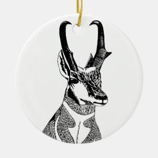 Ornamento del antílope adorno navideño redondo de cerámica