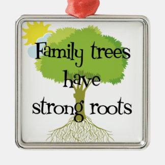 Ornamento del árbol de familia de la genealogía adorno navideño cuadrado de metal
