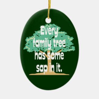 Ornamento del árbol de familia de la genealogía adorno navideño ovalado de cerámica