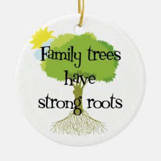 Ornamento del árbol de familia de la genealogía adorno navideño redondo de cerámica