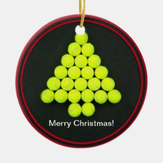 Ornamento del árbol de las pelotas de tenis adorno redondo de cerámica