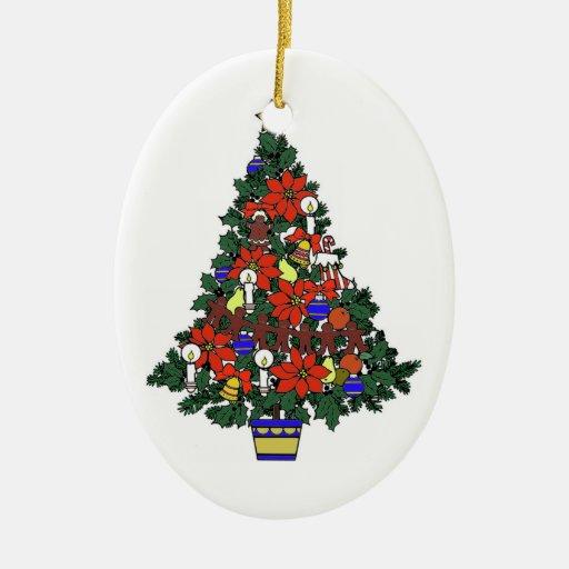 Ornamento del árbol de navidad adorno navideño ovalado de cerámica