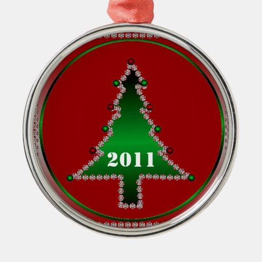 Ornamento del árbol de navidad de 2011 joyas adorno redondo plateado