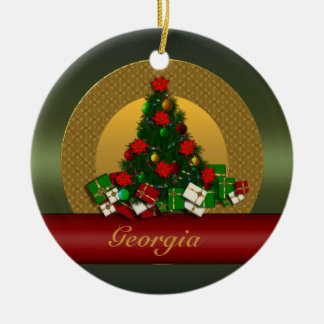 Ornamento del árbol de navidad de Georgia Adorno Navideño Redondo De Cerámica
