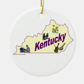 Ornamento del árbol de navidad de Kentucky Adorno Navideño Redondo De Cerámica