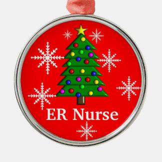 Ornamento del árbol de navidad de la enfermera del adorno navideño redondo de metal