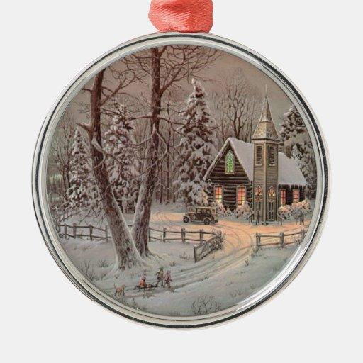 Ornamento del árbol de navidad de la escena de la adorno redondo plateado