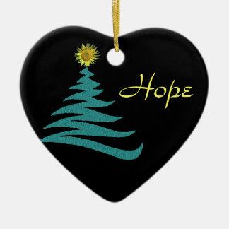 Ornamento del árbol de navidad de la esperanza - adorno navideño de cerámica en forma de corazón