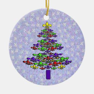 Ornamento del árbol de navidad de la flor de lis adorno redondo de cerámica