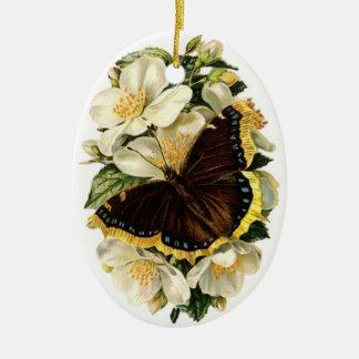 Ornamento del árbol de navidad de la mariposa del adorno navideño ovalado de cerámica