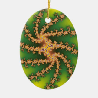 Ornamento del árbol de navidad de la torsión del adorno ovalado de cerámica
