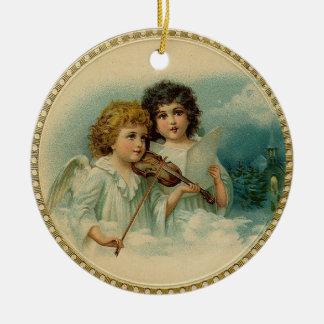Ornamento del árbol de navidad de los ángeles del adorno navideño redondo de cerámica